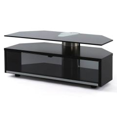 Off the Wall Duo Glass Fronted Black TV Cabinet Stand 1000mm