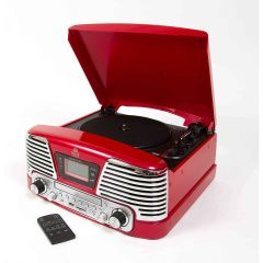 GPO MEMPHIS 4-in-1 Music Centre with Turntable in Red