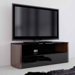 Vivanco 36151 Walnut and Black Glass TV Stand for up to 50 Inch